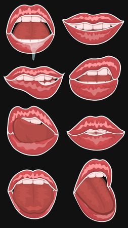 chic: lips, emotions, fashion, teeth, sexy, chic, stickers Illustration