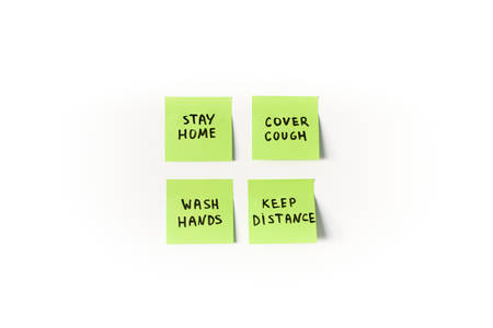 Prevention measures and precautions to remember on green sticky post notes isolated on white background:stay home, wash hands, cover cough and keep distance during global coronavirus covid-19 pandemic