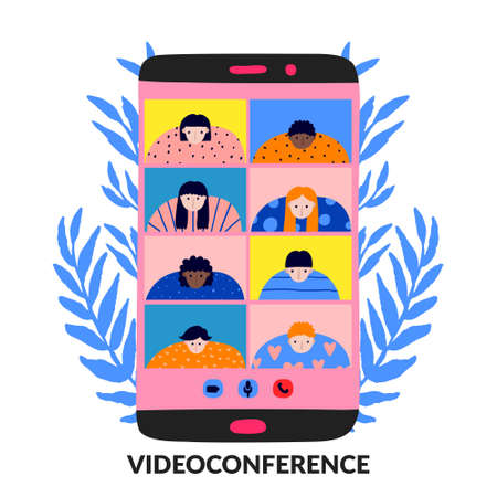 Mobile phone video conference. Hand drawn people on screen. Communication online. Women and men conversation. Multinational teamwork distance meeting. Fun flat design. Stock vector illustration.