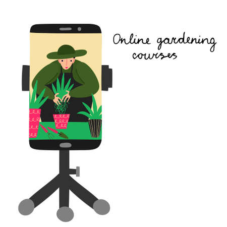 Online gardening courses. Young man in a hat and apron on mobile phone screen. Gardener plants a plant in a pot. Isolated on white. Fun hand drawn design. Live webinar. Stock vector illustration.