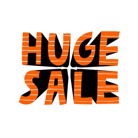 """""""HUGE SALE"""" text. Modern sign with increasing effect. Isolated on white background. Red letters with stripes. Discount offer. Creative design for banner, flyer, card. Stock vector illustration."""