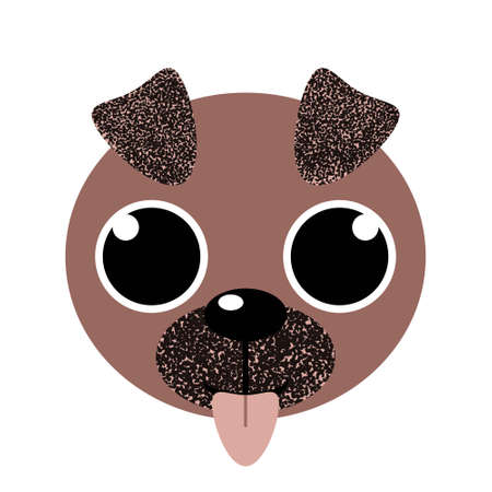 Super cute puppy face with tongue out and big eyes. Adorable dog head isolated on white background. Baby doggy in flat style. Lovely design for shirt, mug, poster, print. Stock vector illustration.