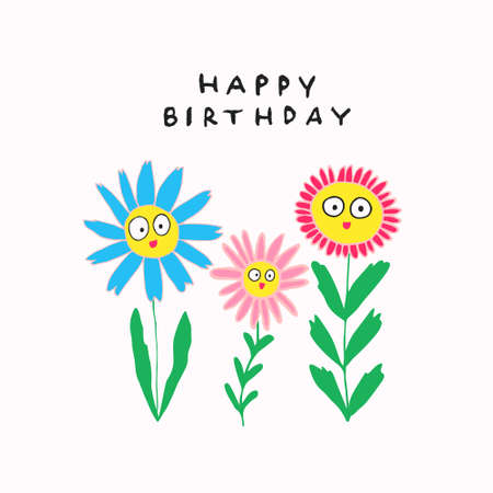 Fun happy birthday sign. Funny smiling flowers with faces. Cute adorable design for greeting card, invitation, postcard, poster. Hand drawn blossom plants with leaves. Stock vector illustration.