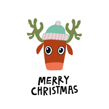 Super cute christmas deer in a hat. Merry Christmas lettering sign. Isolated on white background. Lovely design for card, poster, postcard. Stock vector illustration drawn by hand.
