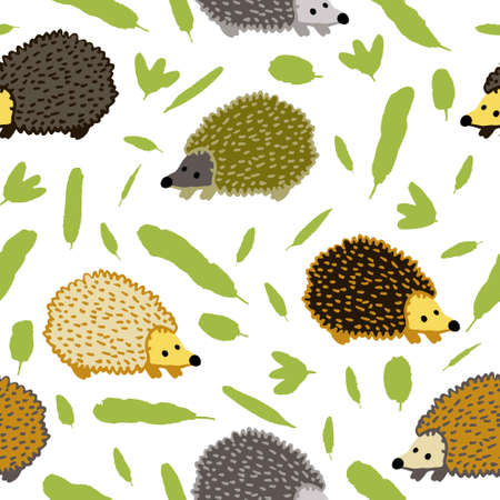 Seamless pattern with hedgehog and leaves isolated on white background. Cute little spiny animal. Flat style drawing. Fun design for textile, wallpaper, wrapping paper. Stock vector illustration.