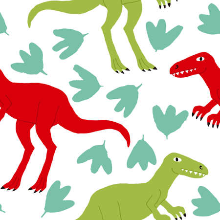 Funny tyrannosaurus seamless pattern isolated on white background. Red and green dinosaurs and leaves. Fun design for textile, wrapping paper. Creative flat style drawing. Stock vector illustration.