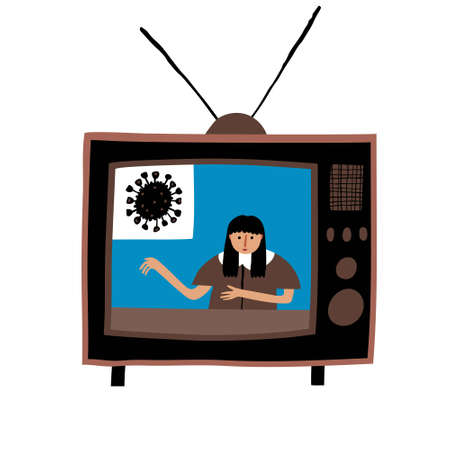 Retro tv with antenna. Young caucasian woman newsreader talking about coronavirus. Breaking news on television channel. Live world news concept. Fun creative design. Stock vector illustration. Vectores