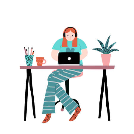 Young caucasian woman with red hair sitting on chair and working on laptop. Work home. Casual clothing. Desk with stuff on it. Isolated on white. Flat style stock vector illustration drawn by hand.