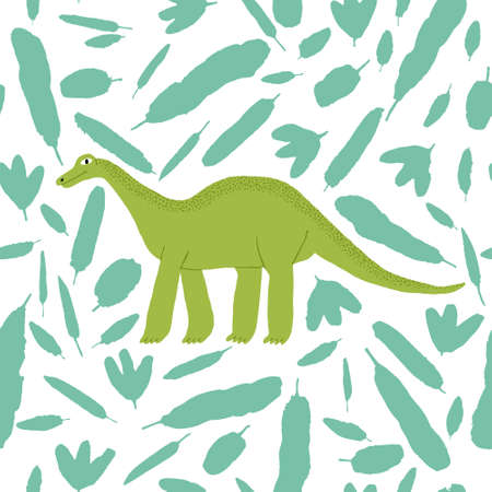 Seamless pattern with green brontosaurus and leaves. Large extinct reptile. Cute hand drawn dinosaur isolated on white background. Fun design for textile, wrapping paper. Stock vector illustration.
