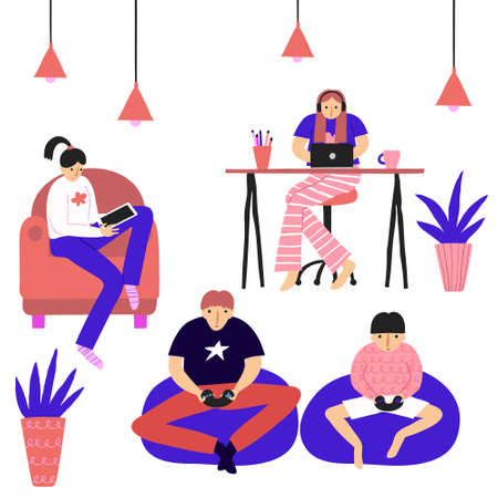 Collection set of people. Family members in a room spending time together. Males and females. Reading, working with laptop, playing video game. Fun flat style drawing. Stock vector illustration.