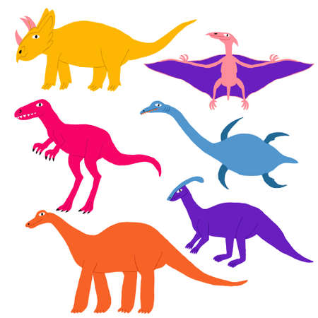 Collection set different kind of dinosaurs isolated on white. Cute multi colored reptiles. Parasaurolophus, tyrannosaurus, triceratops, pterosaur, brontosaurus, plesiosaur. Stock vector illustration.