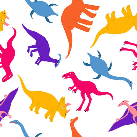 Fun seamless pattern with cute marine, flying and land dinosaurs. Large extinct reptile. Dino print design for kid textile, wrapping paper. Flat style drawing. Stock vector illustration. Vectores