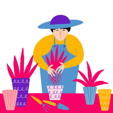 Young asian man plants a seedling in a pot. Gardener isolated on white background. Gardening concept. Fun hand drawn design. Flat style drawing. Stock vector illustration.