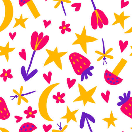 Seamless pattern with flower, moon, stars, hearts, mushroom, strawberry, dragonfly. Fun kid doodle drawings. Multicolored childish background design for textile. Stock vector illustration.