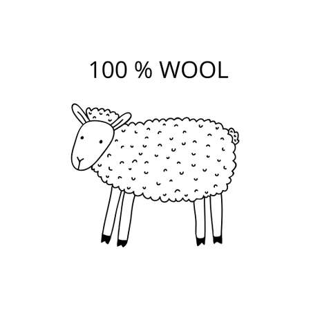 Cute doodle drawing of a sheep and text