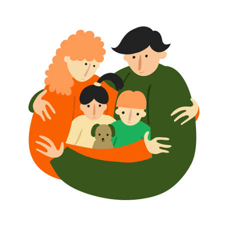 Caucasian family together. Mother, father, son and daughter, dog pet. Hugging people. Closeness concept. Isolated on white background. Fun design. Flat style drawing. Trendy stock vector illustration