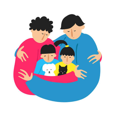 Gay family embracing. Isolated on white. Two men fathers, daughter, son and pets cat and dog. LGBT relationship. Fun closeness and togetherness concept. Flat style drawing. Stock vector illustration.