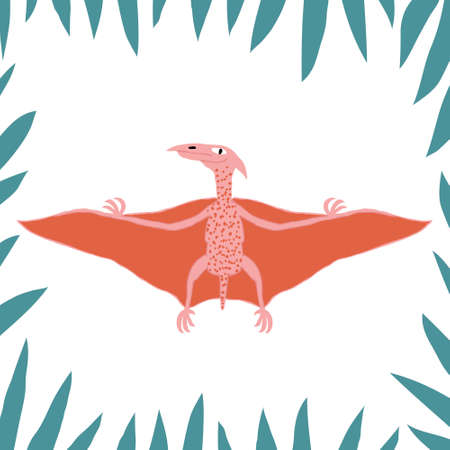 Funny colorful pterodactyl in a frame with leaves. Flying dinosaur isolated on white background. Fun design for poster, shirt, mug. Flat style drawing. Stock vector illustration.