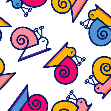 Cute smiling snail seamless pattern. Multi colored cartoon slug isolated on white background. Funny backdrop design for textile, fabric, shirt, wrapping paper. Trendy stock vector illustration. Vectores