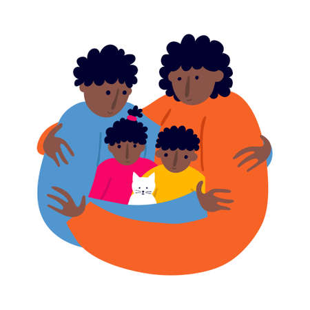 African family members embracing. Mother, father, daughter and son with a pet cat. Togetherness and closeness concept. Fun flat style drawing. Smiling people. Trendy stock vector illustration. Vectores