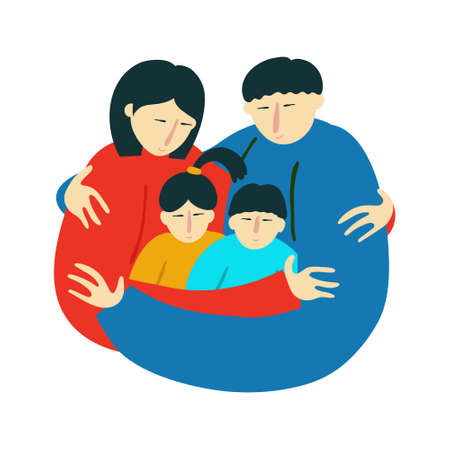Asian ethnicity family embracing. Mother, father, daughter and son together. Isolated on white background. Fun flat style drawing. Relative love concept. Stock vector illustration.