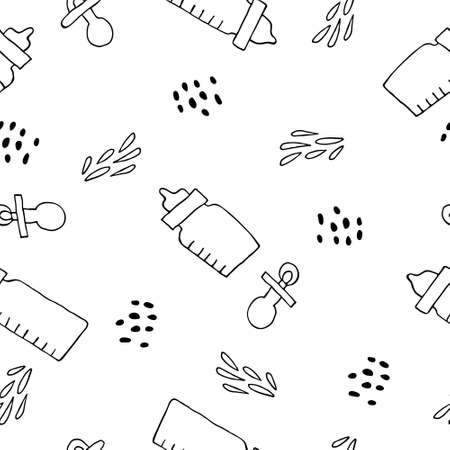Seamless pattern with baby bottles and pacifiers isolated on white background. Black and white doodle drawings. Design for textile, wrapping paper, wallpaper. Fun Stock vector illustration.