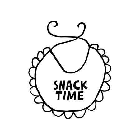 Black and white baby bib with a lettering on it.