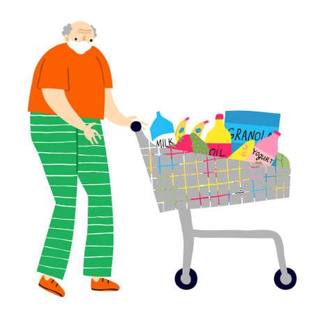 Old man with food trolley full of groceries. Isolated on white background. Fun caucasian senior citizen shopping concept. Stylish template design .Flat style drawing. Funny stock vector illustration