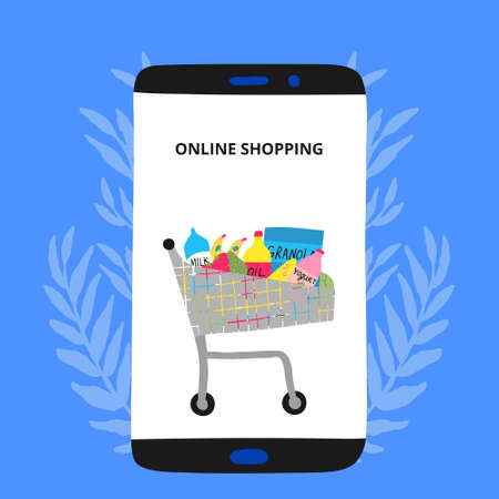 Online shopping concept. Mobile phone with a food trolley on its display. Shop cart with groceries. Full supermarket basket. Fun template design. Creative stock vector illustration drawn by hand.