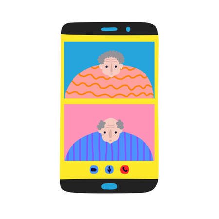 Smiling older couple on mobile phone display. Elderly peoples communication. Old lady and man chatting. Video call. Fun senior citizen. Funny flat style drawing. Trendy stock vector illustration.