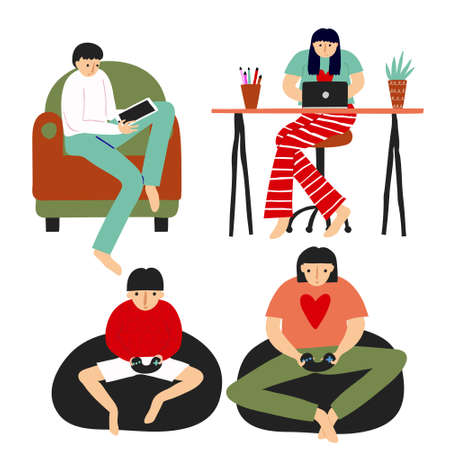 Collection set of caucasian people at home. Fun flat style drawing. Man in armchair with pc tablet, woman with laptop on desk, woman and boy playing video game. Stock vector illustration.