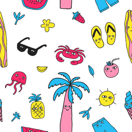 Fun multicolored seamless pattern with palm tree, crab, sunglasses, shorts, fruits. Funny summer background. Doodle drawing isolated on white. Backdrop design for textile. Stock vector illustration Vectores