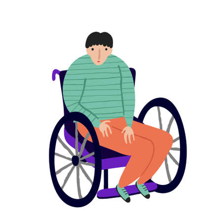 Young adult man with physical disability. caucasian Male in a wheelchair isolated on white. Smiling disabled guy. Fun flat style drawing. Stock vector illustration.