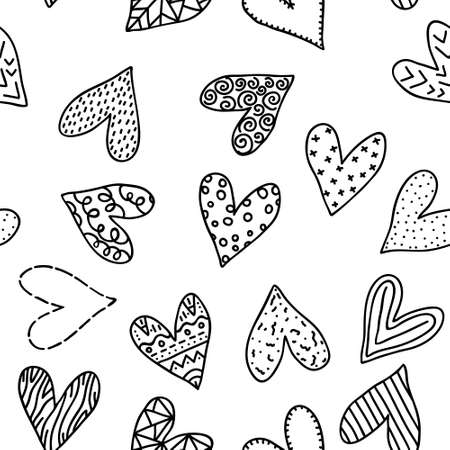 Black and white doodle hearts shapes isolated on white background. Romantic seamless pattern drawn by hand. Cute print design for textile, wrapping paper, mug, shirt, cover. Stock vector illustration. Vectores