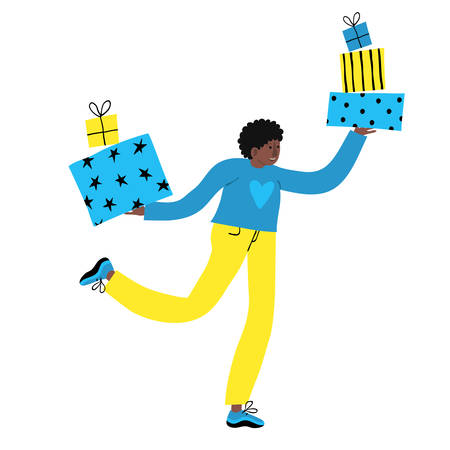African young man exciting run with bunch of gift boxes. Afro male smiling and carrying presents. Happy Holiday shopping concept. Funny design. Fun flat style drawing. Trendy stock vector illustration Vectores