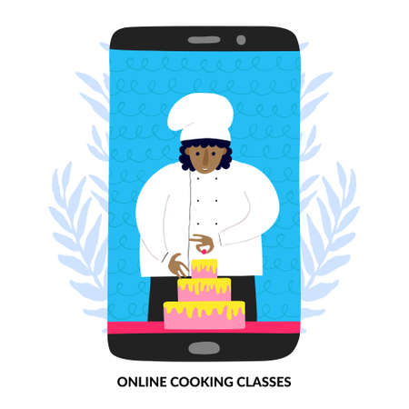 Online cooking classes concept. African woman chef with cake on phone screen. Afro female cook. Culinary Learning video course. Funny design. Flat style drawing. Fun Stock vector illustration