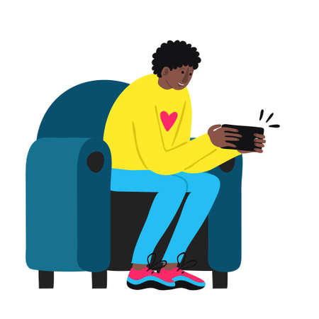 Surprised african man hold smart phone and sits in chair. Afro male in casual clothes got exiting message. Wow emotion. Shocked good news concept. Fun drawing design. Trendy stock vector illustration Vectores