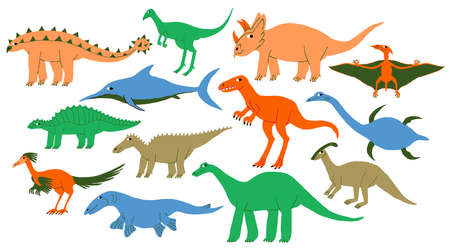 Big collection set of different types dinosaurs. Land, marine, flying dino. Cute Extinct jurassic reptiles lizards. Fun colorful design. Flat style drawing. Trendy stock vector illustration. Vectores