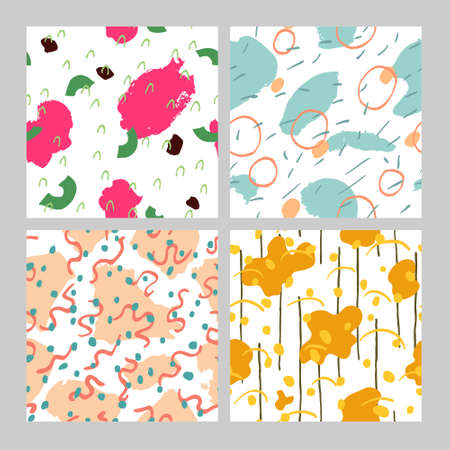 collection set of abstract backgrounds with texture effect and doodle drawings. Multicolor seamless pattern. Fun design for print, textile, wrapping paper. Trendy stock vector illustration.