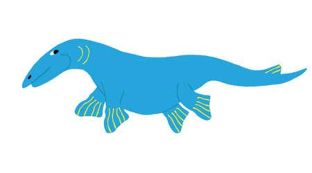 Cute blue Mosasaurus isolated on white background. Fun marine dinosaur. Sea jurassic reptile. Flat style drawing. Creative design for shirt, mug. Stock vector illustration drawn by hand.