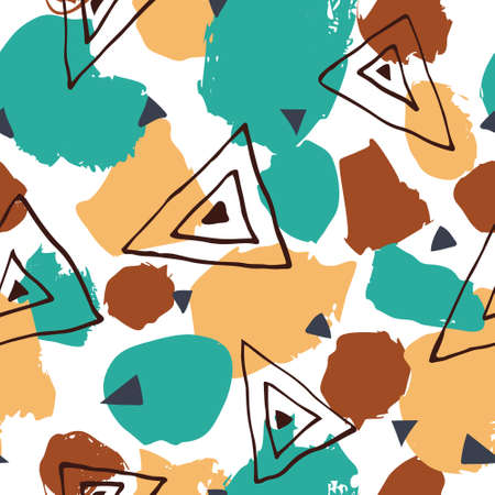 Seamless pattern with abstract shapes and triangles. Multicolor background design for print. Template for textile, fabric, wallpaper. Trendy stock vector illustration.