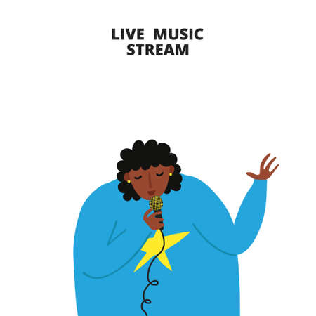 Live music stream sign. African woman singing with microphone. Afro female singer. Musical concert promotion. Copy space. Isolated on white. Fun flat style drawing. Trendy stock vector illustration.