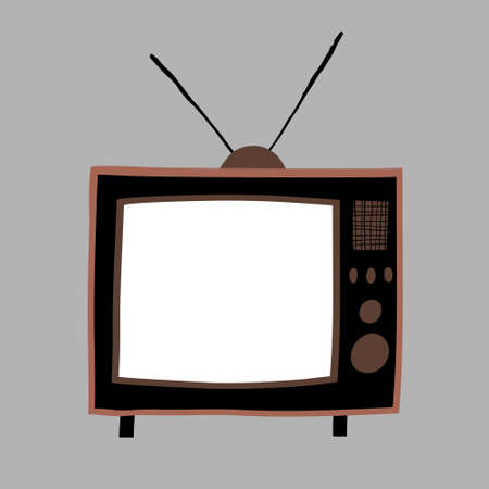 Hand drawn retro tv with antenna. White screen with copy space for your text. Fun design for poster, flyer, print. Stock vector illustration.