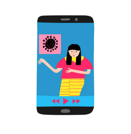 Young caucasian woman on cell phone display talking about coronavirus news. Social media concept. Watching breaking news. Female talk show host. Flat style drawing. Trendy stock vector illustration.