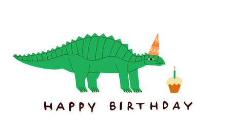 Happy Birthday greeting card with cute green dinosaur. Funny Dino in party hat and cupcake with candle. Make a wish. Fun hand drawn design for poster, banner, card. Stock vector illustration.