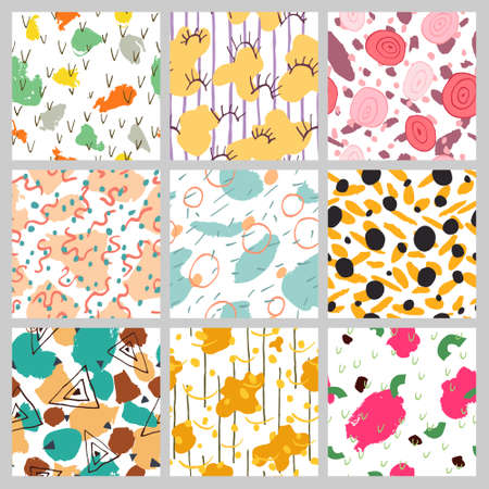 Big Collection set of abstract backgrounds. Beautiful multicolor seamless pattern. Different geometric or abstract shapes. Hand drawn design for textile, fabric, wallpaper. Stock vector illustration. Vectores