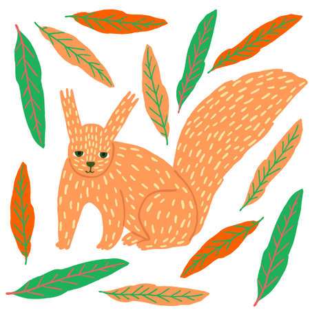 Cute scandinavian squirrel and leaves. Funny colorful animal isolated on white background. Little orange creature. Flat style drawing. Trendy stock vector illustration drawn by hand.