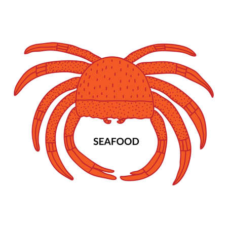 Seafood sign. Marine sea life food. Red color crab doodle drawing. Isolated on white background. Fun creative design for menu, sticker, banner. Sketch Stock vector illustration. Hand drawn poster.