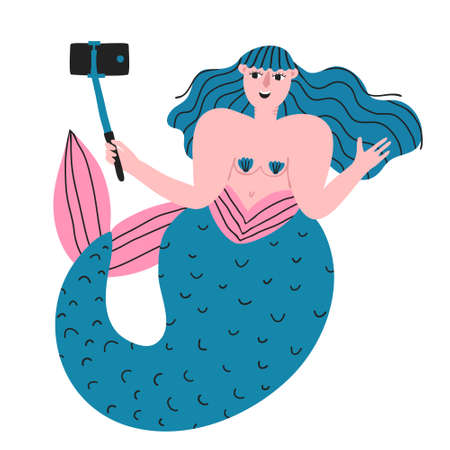 Funny mermaid underwater shooting at camera. Marine creature with phone in selfie stick monopod. Recording video blog. Taking a photo. Fun flat style drawing. Creative stock vector illustration. Vectores