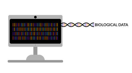 Computer monitor with biological data and dna molecule. DNA encryption. Bioinformatics and biotechnology. Scientific concept. Flat style. Isolated on white background. banner design. Stock vector illustration. Foto de archivo - 150051459